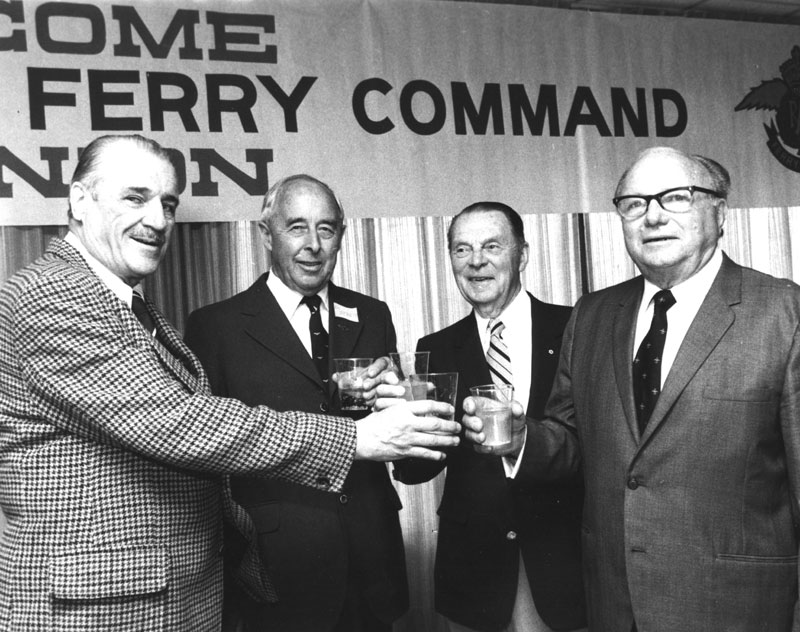 Photo: Don McVicar, D.C.T. Bennett, C.H. 'Punch' Dickens, and Griffith 'Taffy' Powell, skilled pilots and aviation heroes, at the 1980 Ferry Command Reunion in Dorval