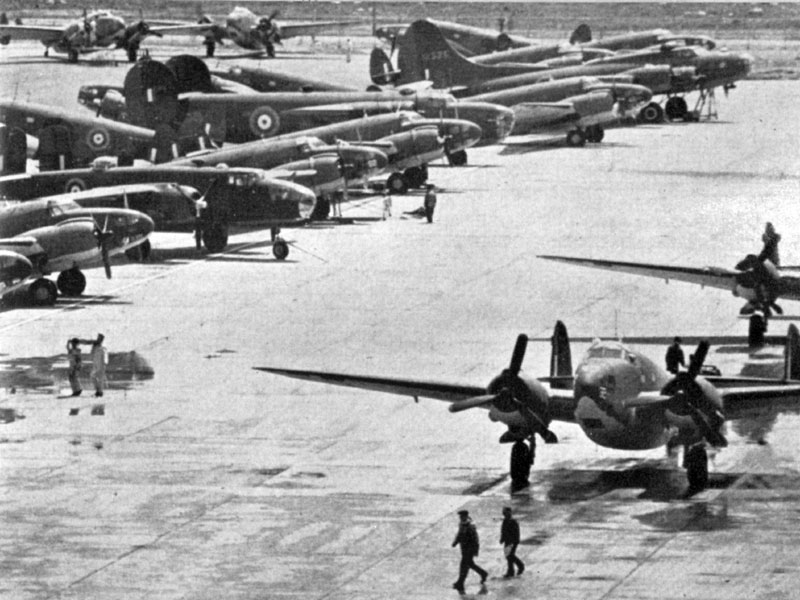 Photo: Tough to find a parking spot at Dorval circa 1941! Mainly Hudsons, but there are a few Mitchell B-25s in the lineup.