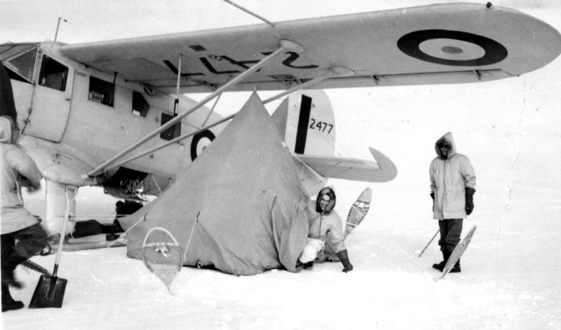 Photo: Camping under the Norseman's wing after being forced down at 'Crystal Zero'
