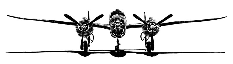 Illustration: front view of the Mitchell B-25 (DMK)